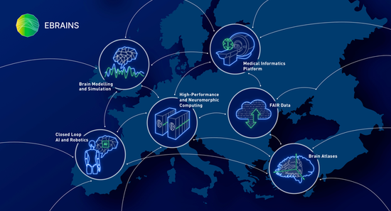 Overview of the digital EBRAINS research infrastructure with its offers for science and industry.