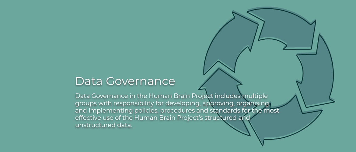 Data Governance: Data Governance in the Human Brain Project includes multiple groups with responsibility for developing, approving, organising and implementing policies, procedures and standards for the most effective use of the Human Brain Project